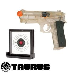 Taurus PT92 Clear Airsoft BB Gun and 15cm Reusable Gel Target